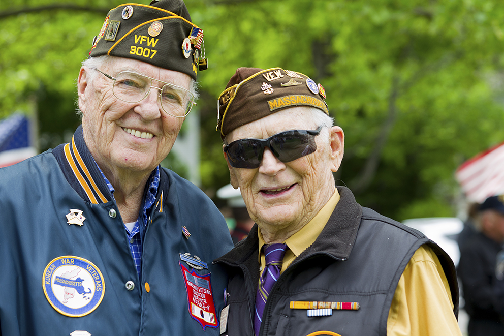 Two decorated elderly military veterans